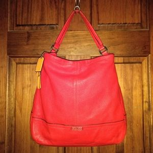 Coach Park Large Red Leather Bucket Hobo Handbag